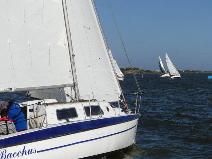 Bacchus looks up the course chasing the fleet. Photos: Chris Caffin