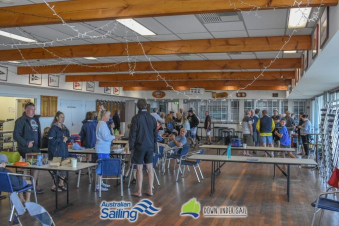 Sailors, parents and coaches filled the club to await the decision on Sundays racing.