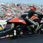 DEFENDING EVENT WINNER EDDIE KRAWIEC LOVES RECEPTION PRO STOCK MOTORCYCLE GETS AT TOYOTA NHRA SONOMA NATIONALS