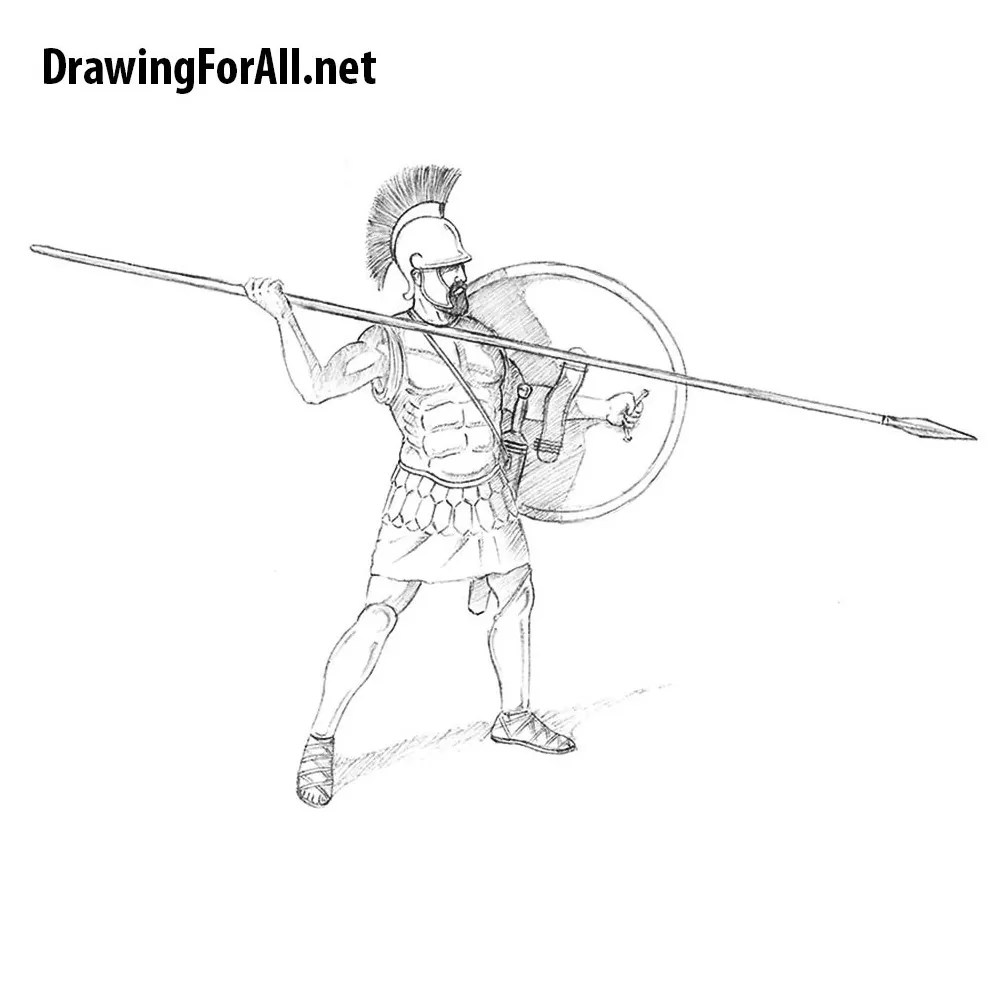 How to Draw a Samurai for Beginners   DrawingForAll net     How to Draw an Ancient Greek Warrior