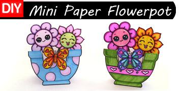 mini paper flowerpot craft free