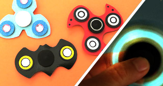 glow in the dark fidget spinners, batman shapes