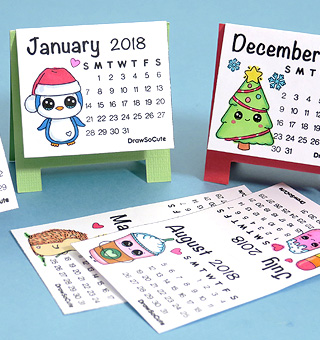 2018 mini diy calendar draw so cute