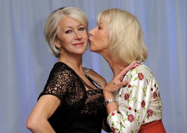 Dame Helen Mirren approves of her wax replica.