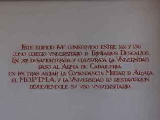 Convento de los Trinitarios Descalzos - Inscripción a la entrada