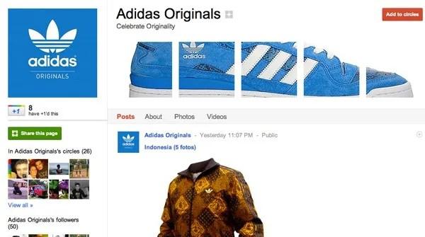 adidas google plus page