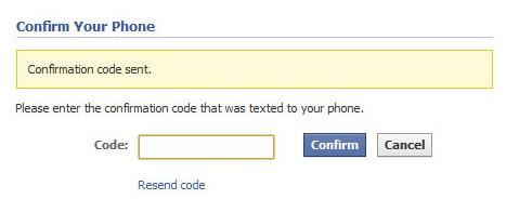 facebook confirm account code