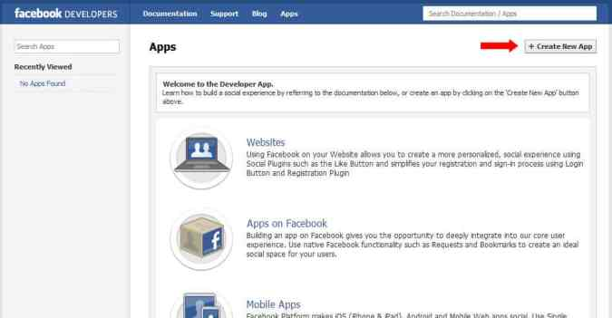 facebook developer screen