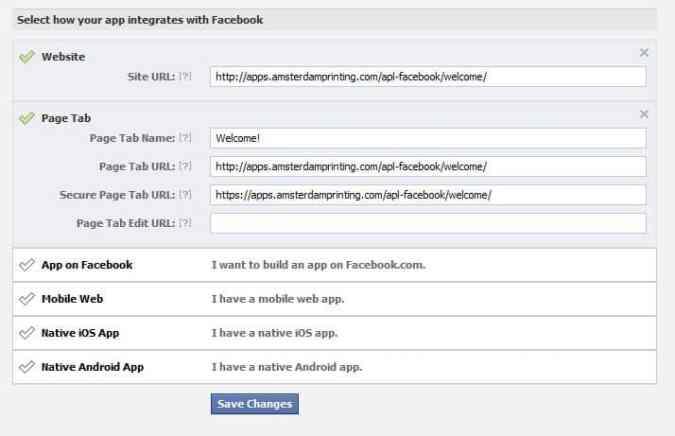 facebook page tab setup