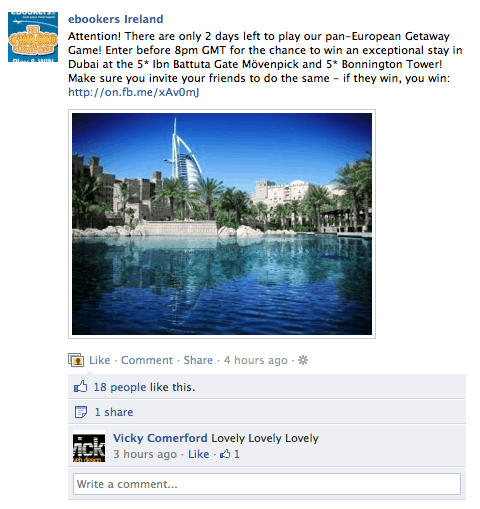 facebook sweepstakes updates