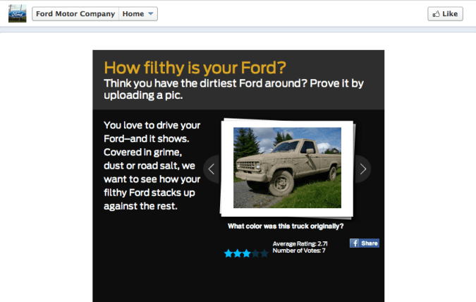 ford motors facebook landing page