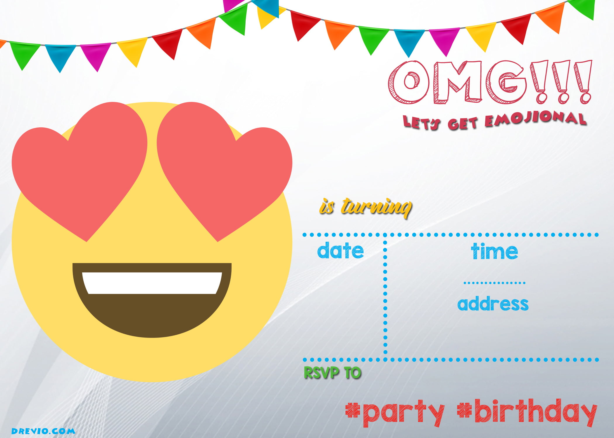 Remarkable You Can Simply Download Free Birthday Invitation By Clicking Image N Download Invitation Free Printable Emoji Invitation Template Free Invitation Templates wedding invitation Emoji Birthday Invitations