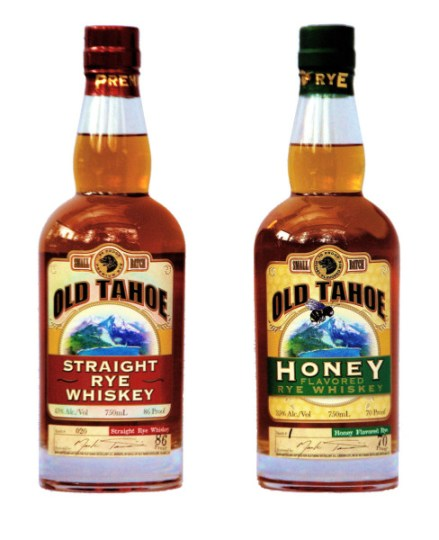 Bottles of Old Tahoe Distillery Rye and Honey Rye. Photo provided by ...