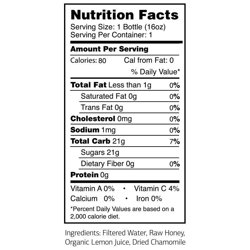 Cham Calm Nutritional Label