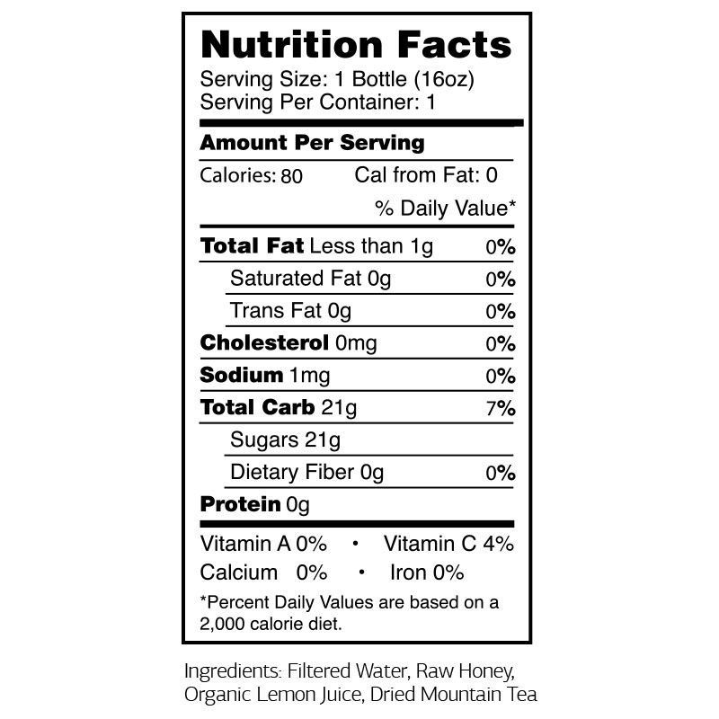 Cham Defense Greek Mountain Tea Nutritional Panel
