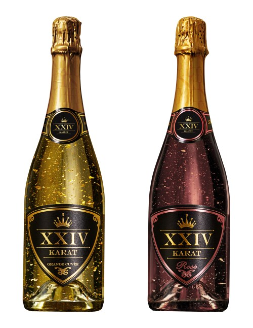 karat bottles 525x679 Review: XXIV Karat Grand Cuvee and Rose    Sparkling Wine with Gold Flake