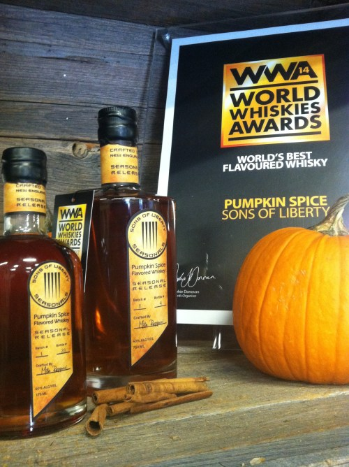 sons of liberty Pumpkins with award 525x702 Review: Sons of Liberty Pumpkin Spice Flavored Whiskey