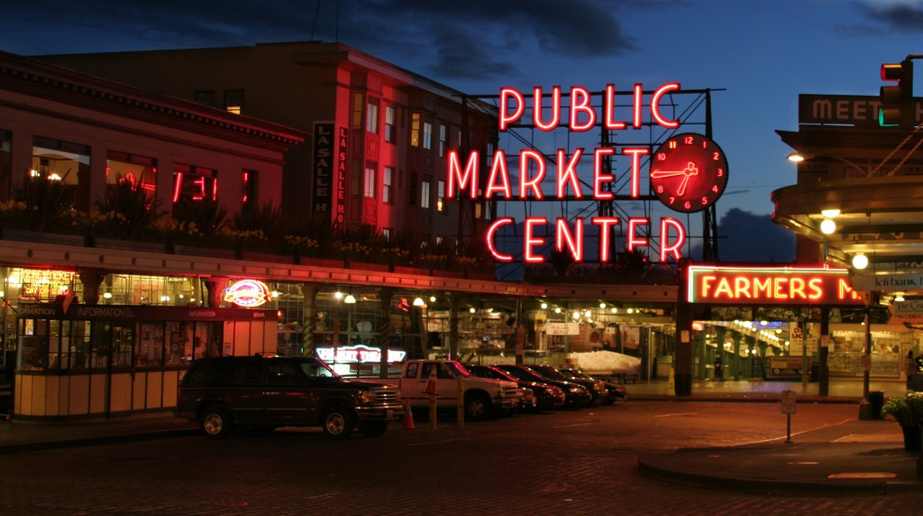 Pike Place Market at Dusk in Seattle, WA. Photo by Michael Righi via Flickr CC