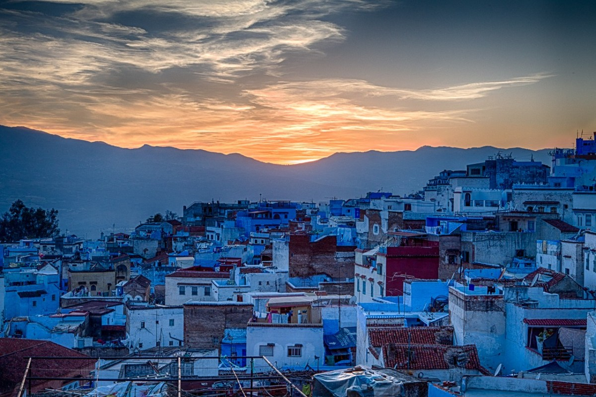 Sunset over Chefchaouen, Morocco. Photo via Flickr Creative Commons by Fred Dunn