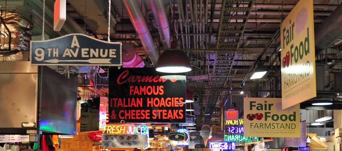 Reading Terminal Market Signs, Philadelphia, PA. Photo by Peter Miller via Flickr CC