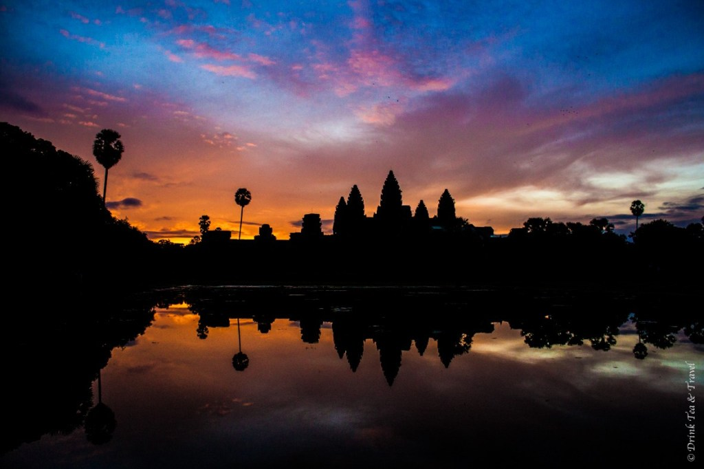 Breathtaking sunrise at Angkor Wat