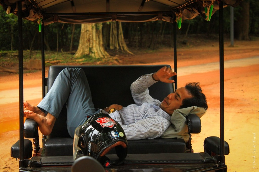 Our amazing tuk-tuk driver, Kiman slept in his tuk-tuk while waiting for us to explore every temple