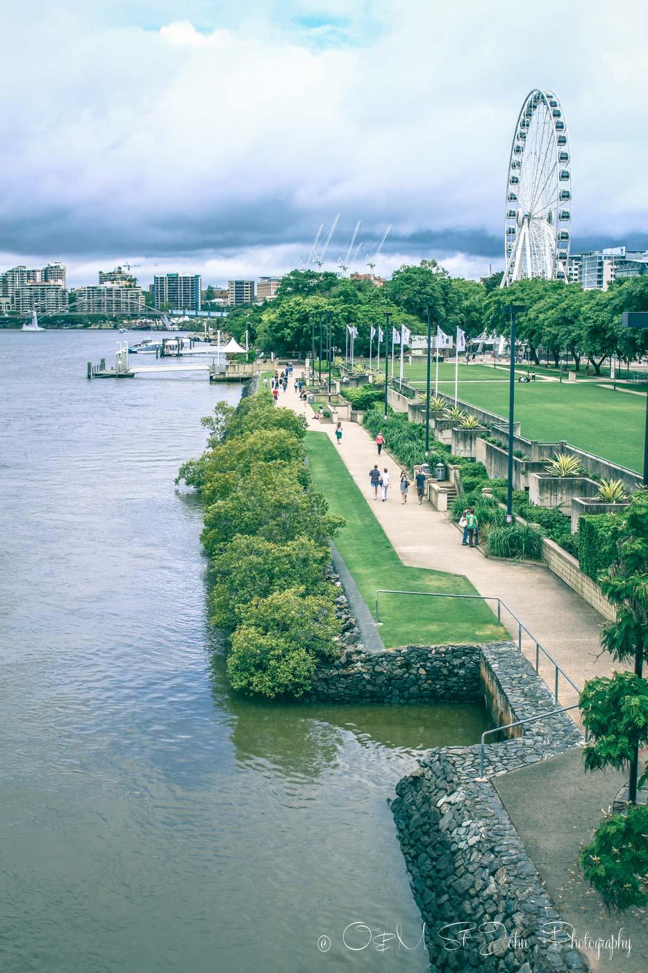 Clem Jones Promenade runs along the river in South Bank. Brisbane