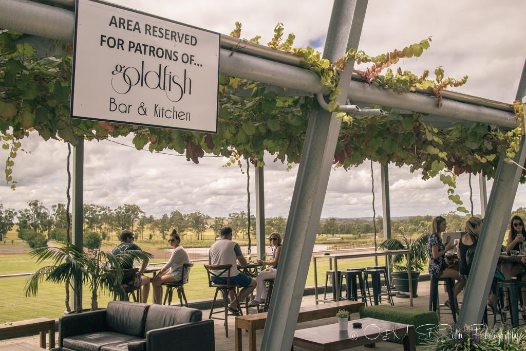 Outdoor seating at the Goldfish in Tempus Two Complex, Hunter Valley