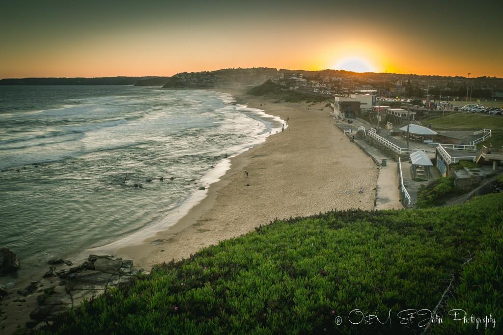 That magical moment when the sun hits the horizon. Bar Beach, Newcastle. Australia