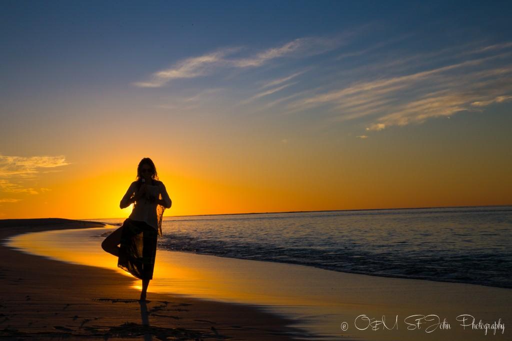 Channeling my inner yogi at sunset in Turquoise Bay, Cape Range National Park. Western Australia