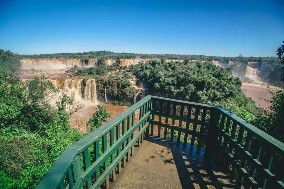Viewing platform at the Iguazu Falls National Park in Brazil