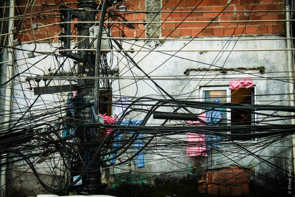 Electric wires hang on the streets of Rocinha, largest favela in Rio de Janeiro