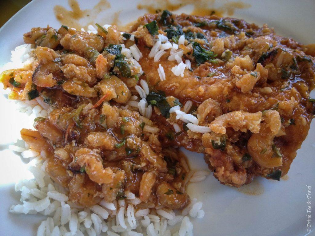 Brazilian dishes: Moqueca - a salt water fish stew with prawns