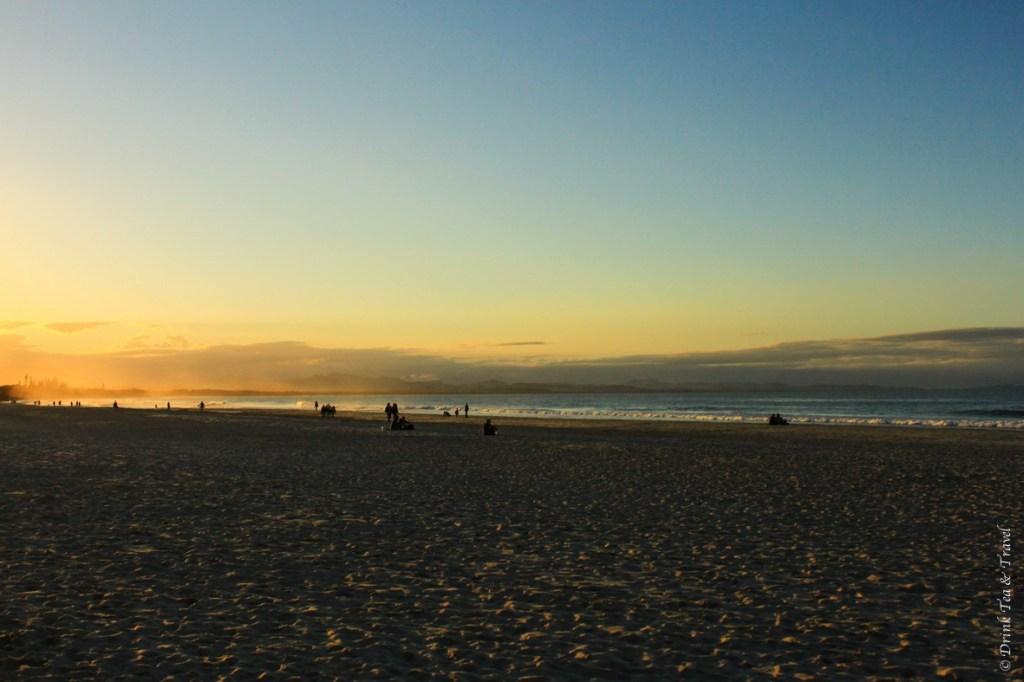 Main Beach Byron Bay at sunset