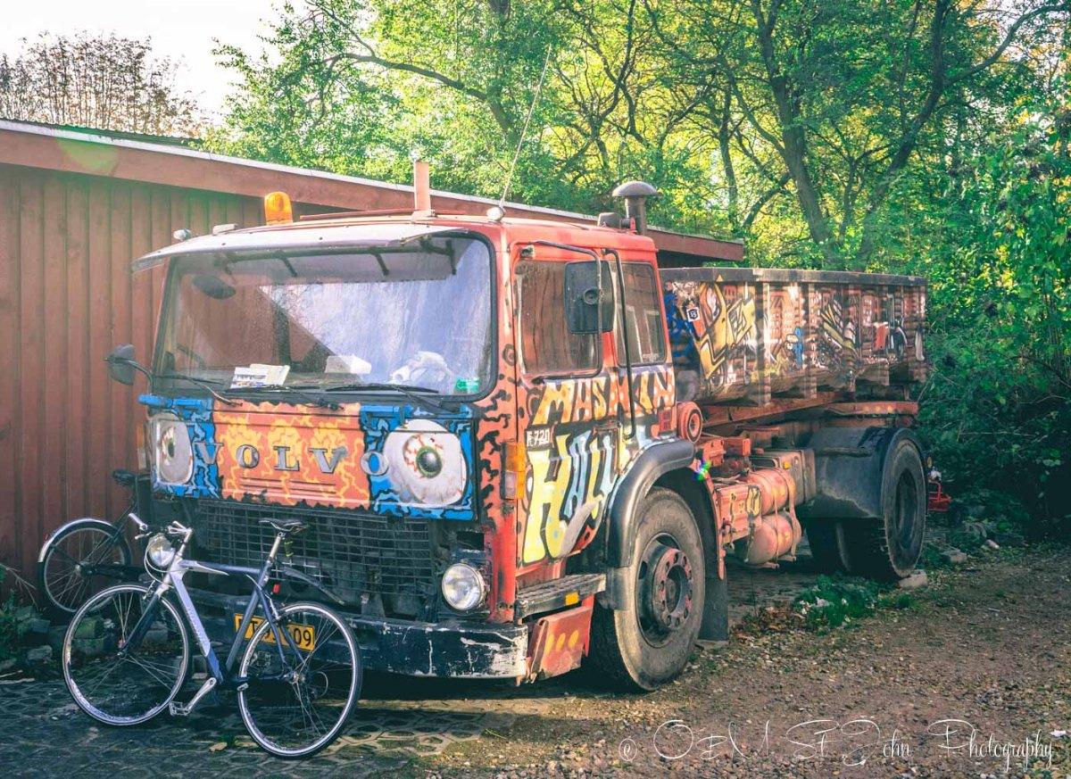 Funky car in Freetown Christiania, Copenhagen. Denmark