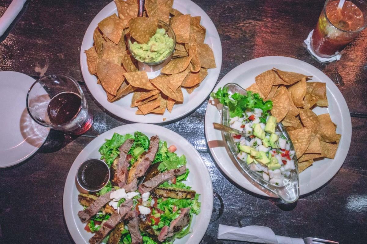 Ceviche, guacamole and a steak salad at Lava Bar, La Fortuna