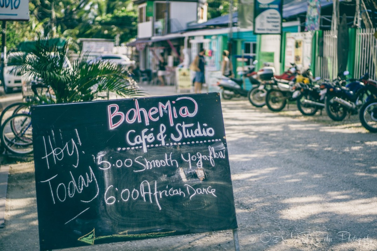 Bohemia Cafe sign in Playa Sámara. Guanacaste. Costa Rica