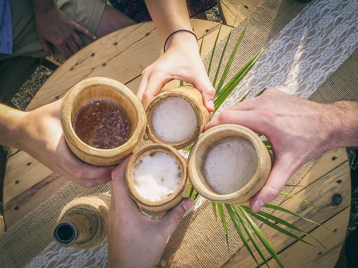 Handmade bamboo cups at the wedding. Lagartillo Costa Rica