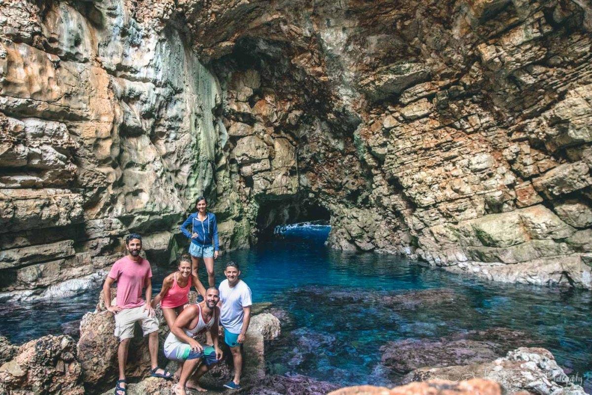 Our Croatia sailing crew at Odysseus Cave in Mljet, Croatia