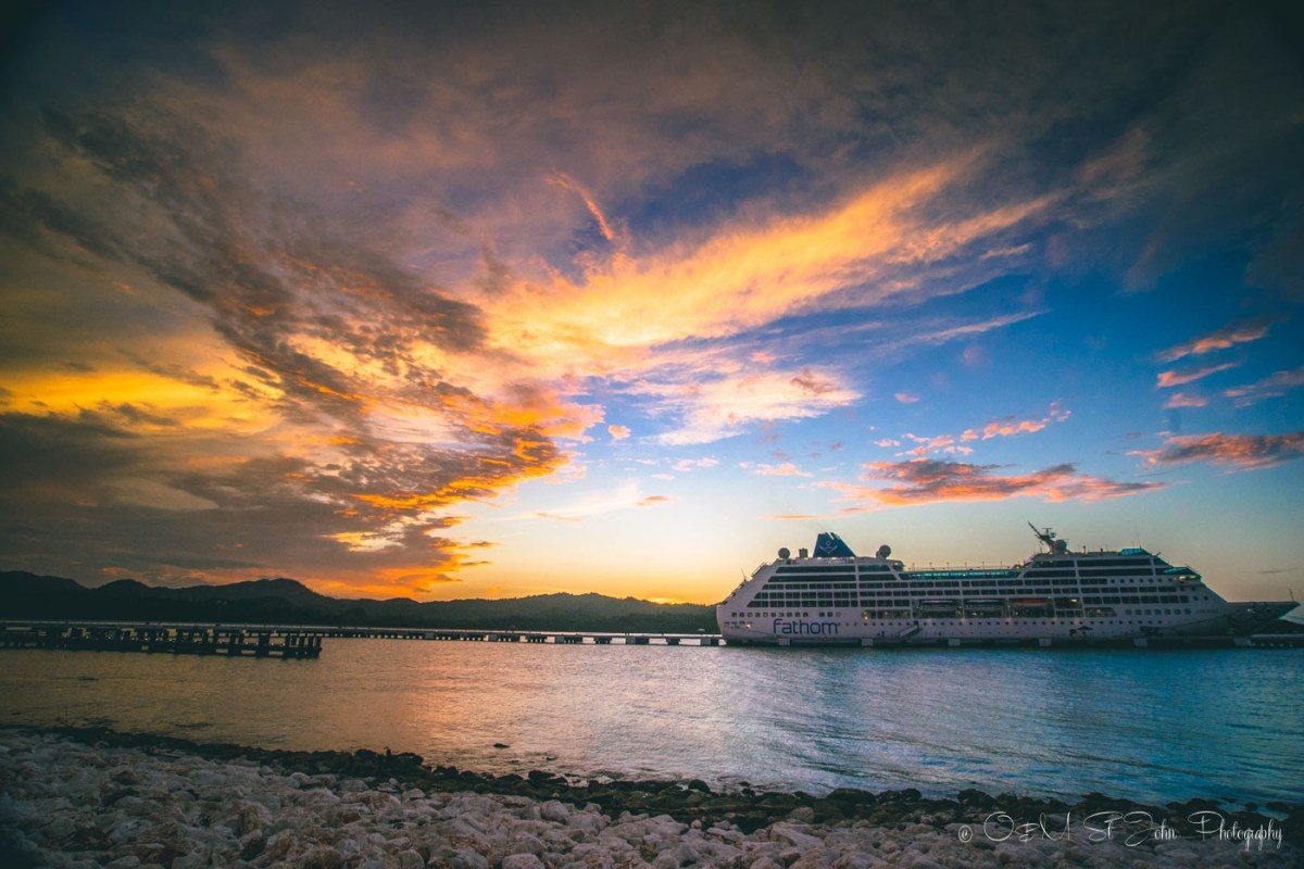 Fathom's Adonia ship docked in Amber Cove, Puerto Plata. Dominican Republic