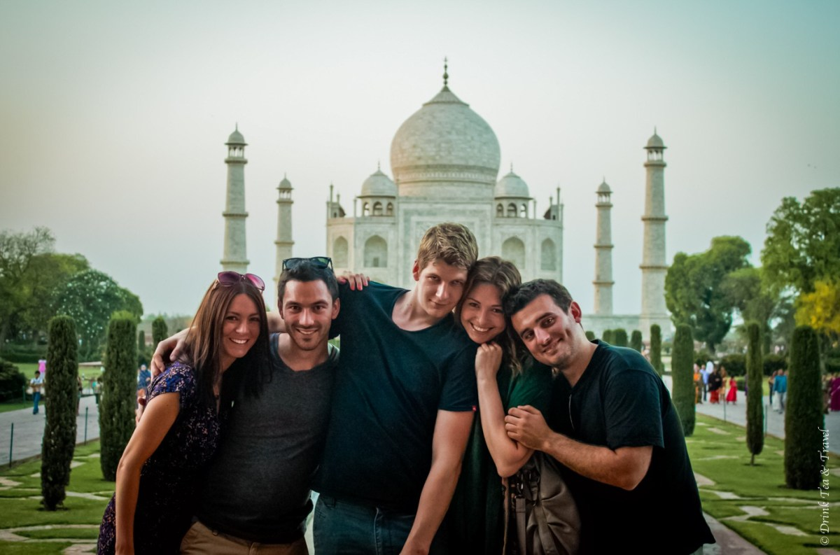 Oksana and friends at Taj Mahal in India