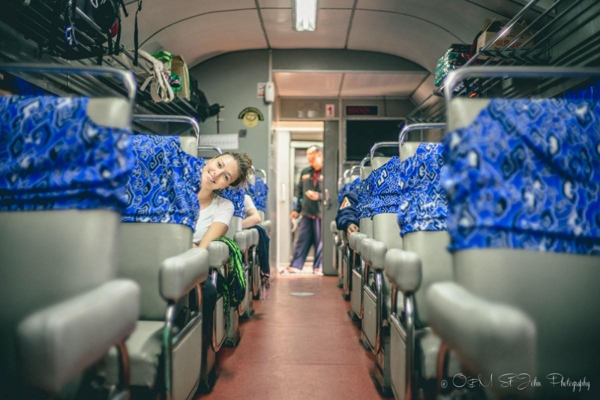 Oksana on the train in Indonesia