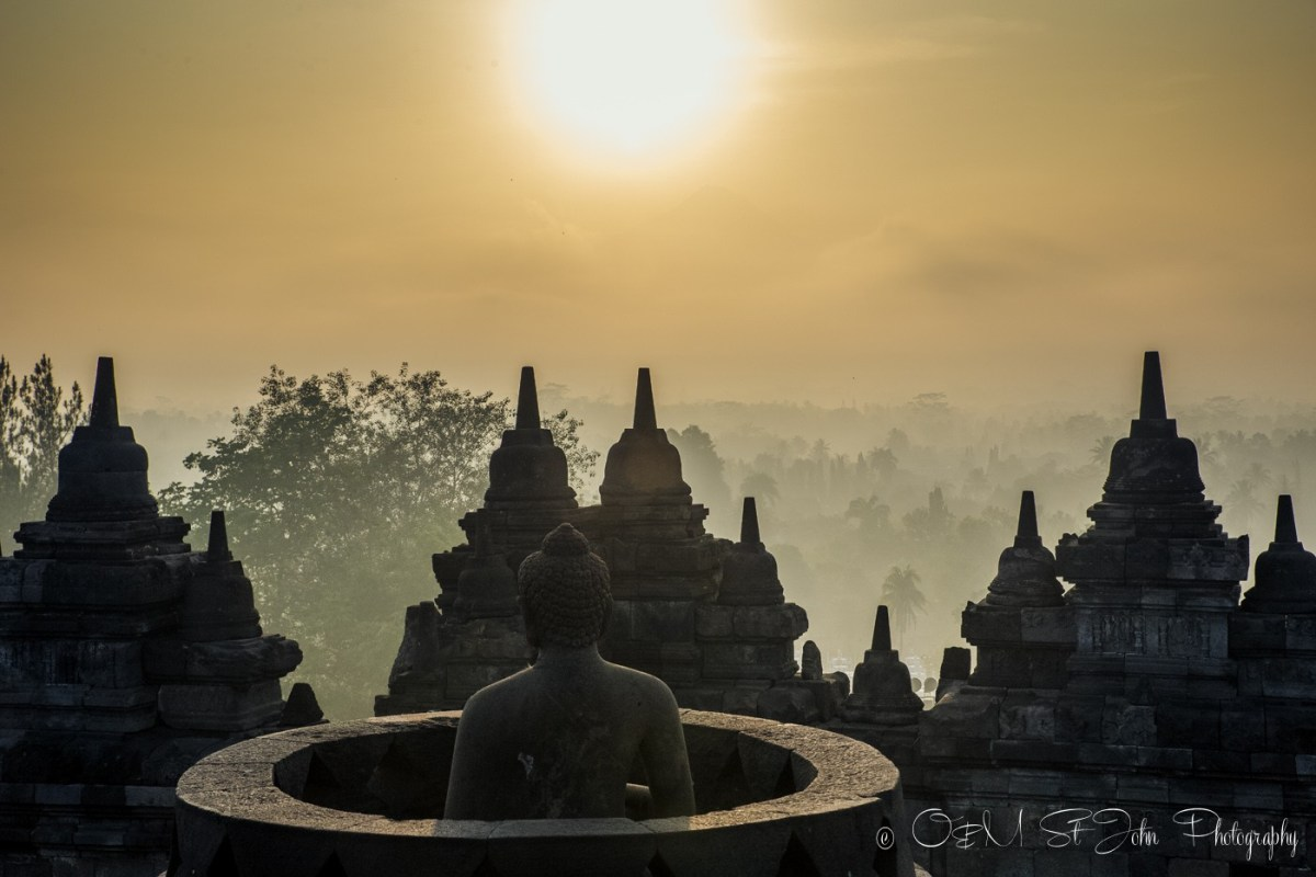 Borobudur Temple at sunrise. Java Indonesia
