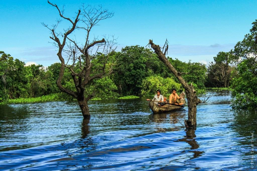 Local women navigate through the mangroves in Kampong Phluk