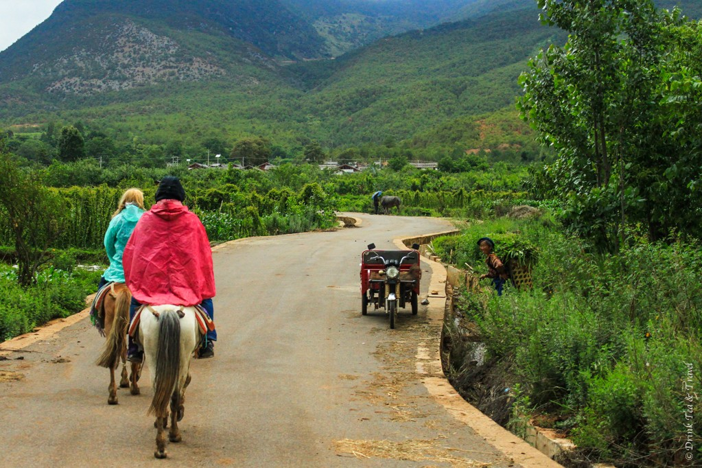 Riding past a local woman working in the field,. Outside of Lijiang, China