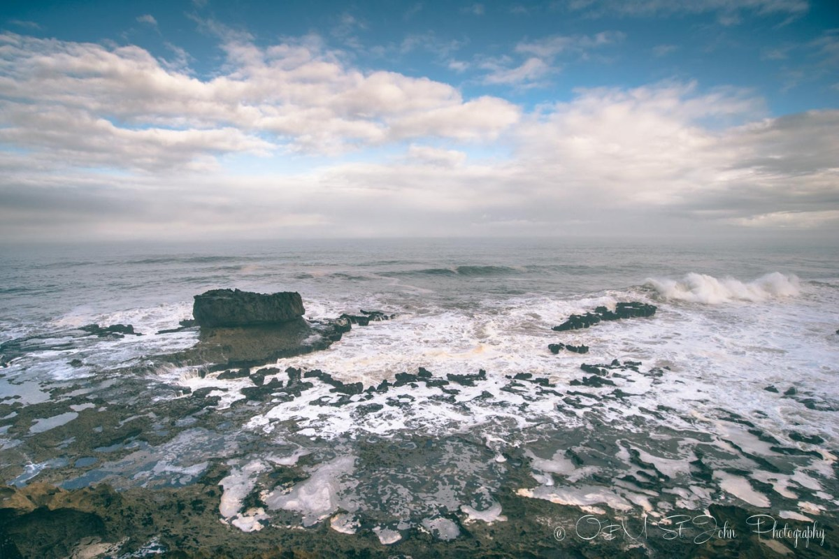 Waves crash against the rocks on the coast of Essaouira, Morocco