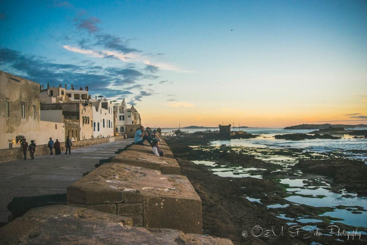 Essaouira ramparts at sunset. Morocco