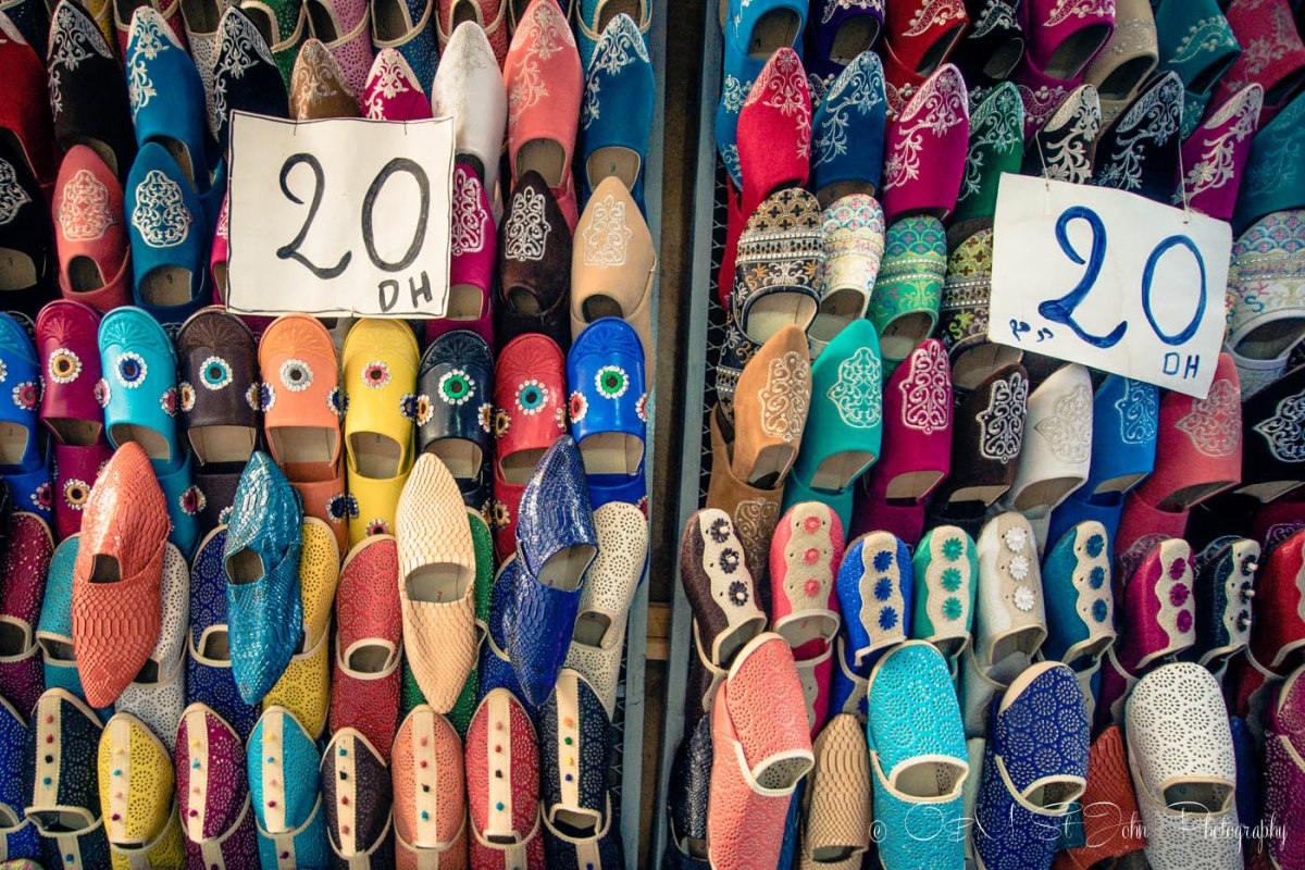 Traditional Moroccan shoes on sale in Fes, Morocco