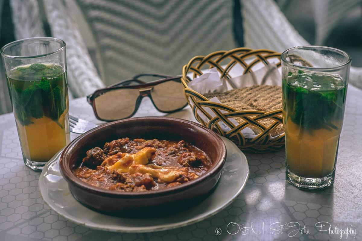 Morrocan food: Beef kefta tagine.