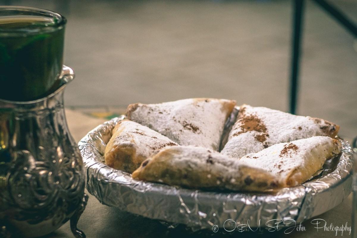 Moroccan food: Bastilla served with mint tea